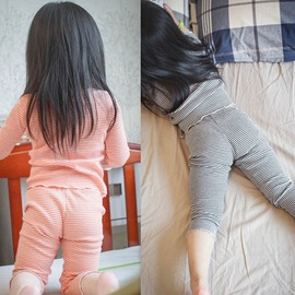 I BABY  女童 男童 兒童 寶寶 純棉 螺紋 條紋 長袖T恤 長褲 兩件套 睡衣套裝
