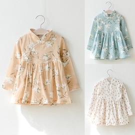 I BABY  女童 兒童 寶寶 碎花 棉麻 盤扣 中式旗袍 公主連衣裙 長袖洋裝~QA0