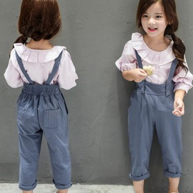 I BABY  女童 兒童 復古宮廷風 褶皺 荷葉邊 小翻領 燈籠中袖 長袖襯衫~QA10