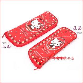 asdfkitty可愛家~KITTY紅蘋果L號防水環保餐具袋 筆袋 收納袋~韓國製
