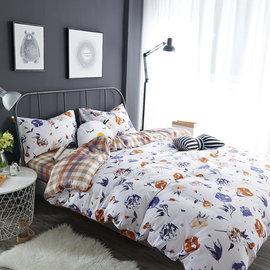~PAINT~北歐風格,棉花園,精梳棉緞貢,雙人床包,兩用薄被套四件組 A01011518