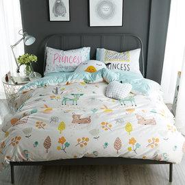~PAINT~北歐風格,斑斑花園,精梳棉緞貢,雙人床包,兩用薄被套四件組 A0101151