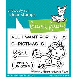 Lawn Fawn 透明印章及刀模兩件組 Winter Unicorn