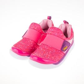 零碼出清~FILA 穿脫式 兒童 輕量 記憶鞋墊 慢跑鞋-桃紅 7-C858Q-299