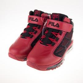 FILA  黏扣 兒童全氣墊 籃球鞋-黑/紅 3-B815Q-200