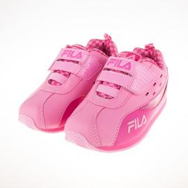FILA  黏扣 輕量 兒童 賽車系列 MD電燈鞋-粉/桃 7-J855Q-522