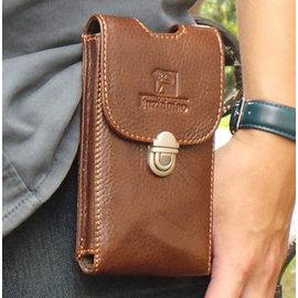 真皮手機腰包~荔枝紋日式直入手機套 復古扣 手機袋 htc 手機包 掛包 真皮包 收納包