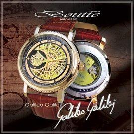 蒐藏逸品 !BOUTTE 伽利略 Galileo 機械腕錶 玫瑰金 錶徑43mm