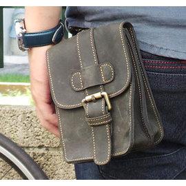 真皮手機腰包~休閒復古瘋馬皮 皮帶扣 5~7吋 手機袋 手機包 掛包 真皮包 收納包 相機