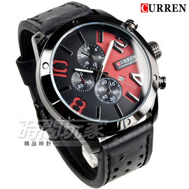 CURREN 仿三眼 雙色 潮流皮革腕錶 男錶 黑x紅 CU8243R黑