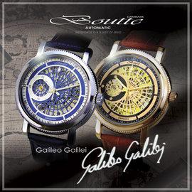 蒐藏逸品 !BOUTTE 伽利略 Galileo 機械腕錶 一只  銀色  玫瑰金 錶徑4