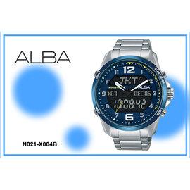 ~時間道~ むALBA~錶め 簽名款雙顯數字刻度限腕錶 藍框黑面鋼^(N021~X004B