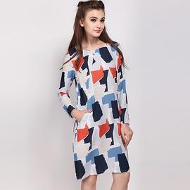 復古風 幾何圖樣雙口袋圓領長袖連身裙