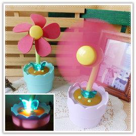 【Q禮品】A3044 小花盆栽LED風扇/可調角度/二用/USB盆栽風扇/花朵/花盆/安全風扇/小夜燈/置物盒