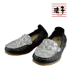 MIT平底軟Q包鞋~百搭拼接休閒平底軟Q包鞋 黑  藍 真皮 出遊 止滑橡膠底 乳膠軟墊