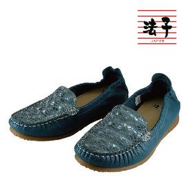 MIT平底軟Q包鞋~百搭拼接休閒平底軟Q包鞋 藍 真皮 出遊 止滑橡膠底 乳膠軟墊 製