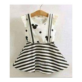 假兩件米奇條紋棉質洋裝
