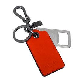 COACH 64577 橘紅皮革吊牌內附開瓶器雙扣環鑰匙圈