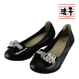 MIT楔型包鞋~晶鑽珠子閃耀楔型包鞋 黑 舒適 蝴蝶結 典雅氣質 優美 真皮 製