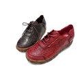 復古仿舊立體紋休閒皮鞋
