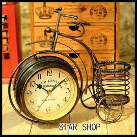zakka雜貨 家飾 工業風仿舊深色數字鐵製自行車造形雙面座鐘 刷舊復古摩登LOFT收納文