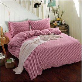 ~日式風格~紅色小格,精梳棉,雙人床包,兩用薄被套,枕頭套共四件組
