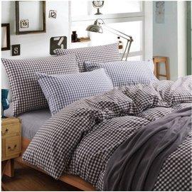 ~日式風格~墨黑色小格,精梳棉,雙人床包,兩用薄被套,枕頭套共四件組