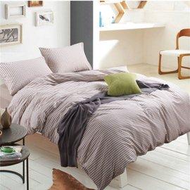 ~日式風格~米色小格,精梳棉,單人床包,兩用薄被套,枕頭套共三件組