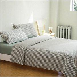 ~日式風格~綠色小格,精梳棉,雙人床包,兩用薄被套,枕頭套共四件組