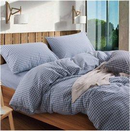 ~日式風格~粉藍色小格,精梳棉,雙人加大床包,兩用薄被套,枕頭套共四件組