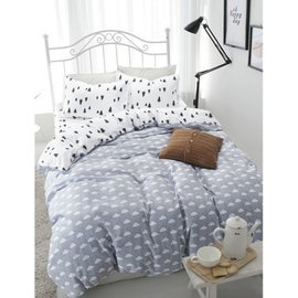 ~北歐風格~北歐風格,小樹雲朵,精梳棉,雙人床包,兩用薄被套,枕頭套共四件組