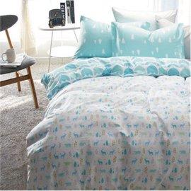 ~北歐風格~文青小麋鹿,精梳棉,雙人床包,兩用薄被套,枕頭套共四件組