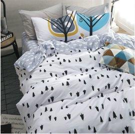 ~北歐風格~童話小樹,精梳棉,雙人床包,兩用薄被套,枕頭套共四件組