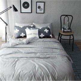 ~北歐風格~優雅條紋,精梳棉,雙人床包,兩用薄被套,枕頭套共四件組