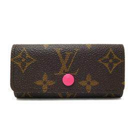 Louis Vuitton LV M41945 花紋四扣鑰匙包.桃紅 價 6 300