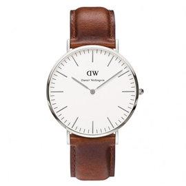 DW Daniel Wellington 棕色皮革腕錶~銀框 40mm^(0207DW^)