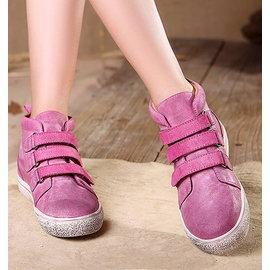 真皮圓頭短靴頭層牛皮復古休閒女靴魔術貼平底靴子T16CXZ12603兩色