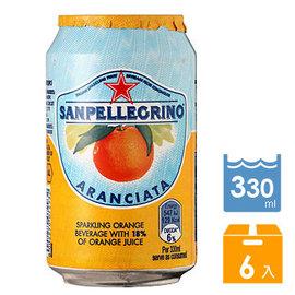 聖沛黎洛 氣泡水果飲料 罐裝~甜橙口味^(330mlx6入^)