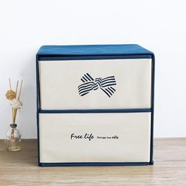 雙層抽屜式衣物收納盒多 布藝內衣褲收納整理盒~潮衣部落格~