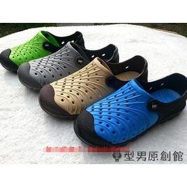 洞洞鞋鏤空透氣包跟沙灘鞋增高潮男鞋雙層軟底戶外涼鞋~潮衣部落格~