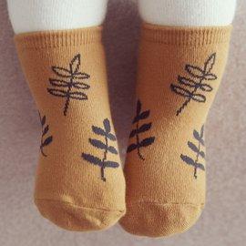 襪子 韓國 Happy Prince 樹葉嬰兒短襪 ~ 芥末黃底黑葉子