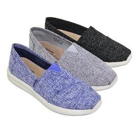 簡約風格混織布套入式休閒鞋