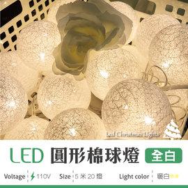 ^~JS光譜照明 ^~ LED 棉球燈 白色 暖白光 5米 20燈 聖誕燈 燈飾 聖誕節