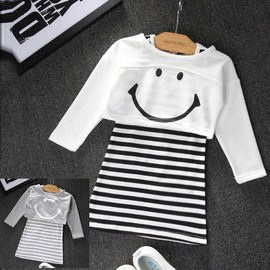 I BABY  女童 兒童 笑臉 長袖短版T恤 條紋背心裙 兩件套 套裝~QA1110~