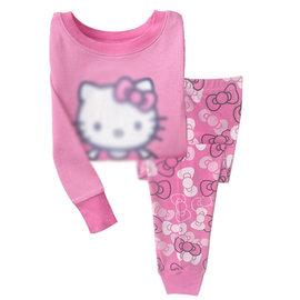 I BABY  女童 兒童 純棉 卡通 家居服 長袖T恤 長褲 兩件套 睡衣套裝~QA10