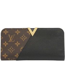 Louis Vuitton LV M56175 Kimono 花紋小牛皮拼接扣式長夾.黑