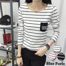上衣 ~ 胸前字母小口袋 條紋長袖T恤~29168~藍色巴黎~3色~