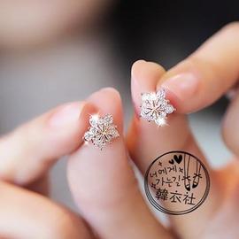 耳飾韓國花朵雪花鋯石耳釘女925銀質耳針小巧可愛耳環 ~潮衣部落格~
