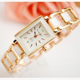 潮流手錶 長方形手錶女款 簡約中學生手鍊錶女孩 鏤空女錶~潮衣部落格~