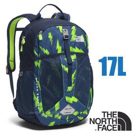 【美國 The North Face】RECON SQUASH 童款 童趣印花風格雙肩後背包17L (YKK拉鍊_日用運動休閒書包)/大容量主袋/CTK3 閃電印花/螢光綠
